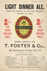 Advert for T Foster & Co, brewery